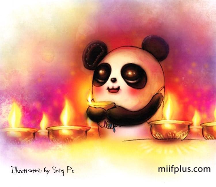 Digital illustration of Panta celebrate Deepavali for miifplus.com