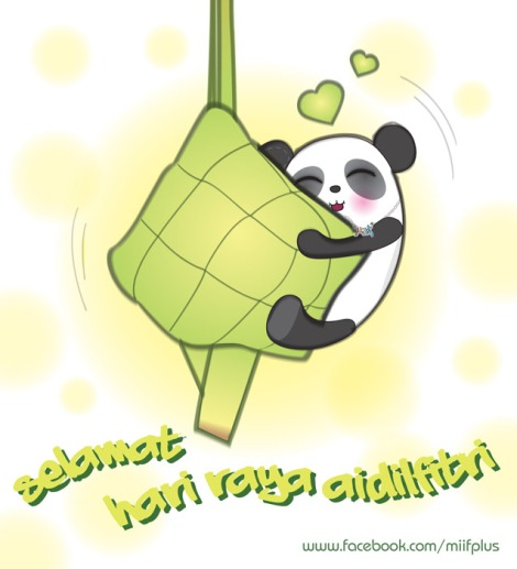 this is an illustration for Hari Raya Greeting, I comes out an idea of Panta (miifplus.com's mascot) wanted to eat the giant Ketupat, it's fun!